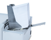 """Integrated feeder holds up to 500 #10 envelopes at a time, and can handle materials up to 3/8"""" thick"""